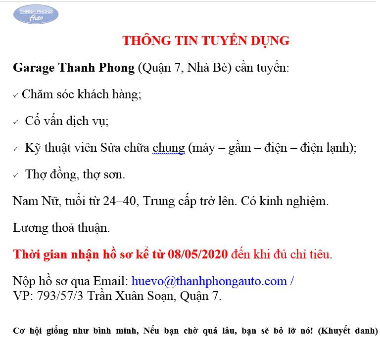 THÔNG TIN TUYỂN DỤNG 12 Thanh Phong Auto HCM
