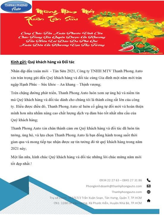 THƯ CHÚC TẾT 2021 8 Thanh Phong Auto HCM