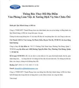 Thông Báo Thay Đổi Địa Điểm Văn Phòng Làm Việc & Xưởng Dịch Vụ Sửa Chữa Ôtô 2 Thanh Phong Auto HCM